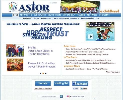 screenshot of The Astor Home website