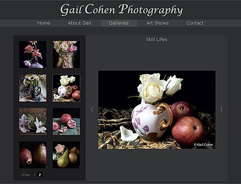 screenshot of Gail Cohen Photography website
