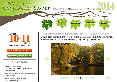 screenshot of New York State Land Conservation Summit 2014 website