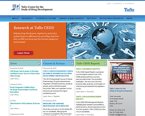 screenshot of Tufts Center for the Study of Drug Development website
