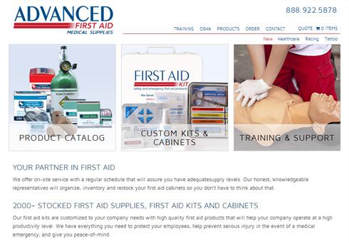screenshot of Advanced First Aid website