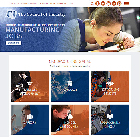 screenshot of the Council of Industry website version 3