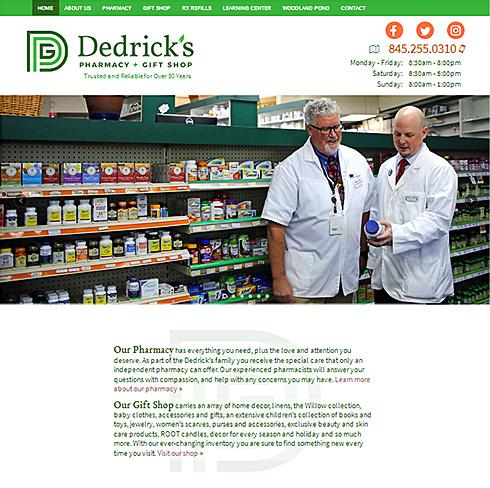 screenshot of the Dedricks Pharmacy website