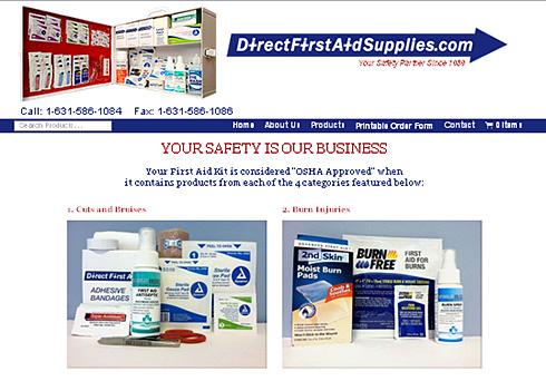 Direct First Aid Supplies website screenshot