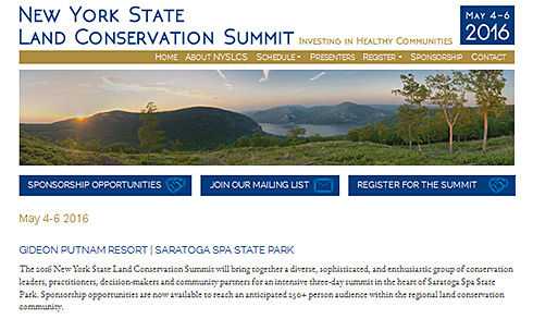 screenshot of the New York State Land Conservation Summit 2016 website