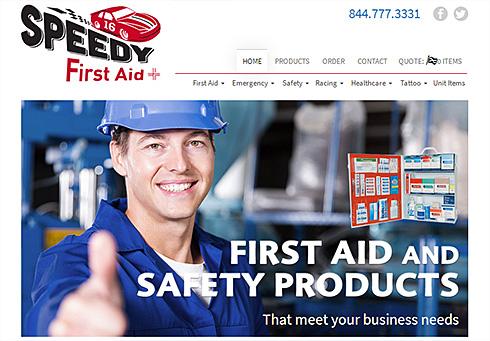 screenshot of Speedy First Aid website